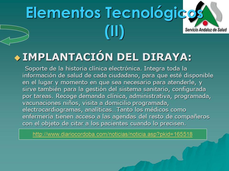 Elementos Tecnológicos (II) IMPLANTACIÓN DEL DIRAYA: IMPLANTACIÓN DEL DIRAYA: Soporte de la historia clínica electrónica. Integra toda la información