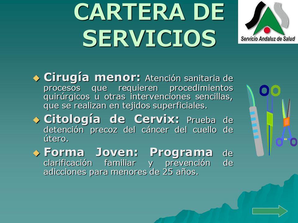 CARTERA DE SERVICIOS Cirugía menor: Atención sanitaria de procesos que requieren procedimientos quirúrgicos u otras intervenciones sencillas, que se r