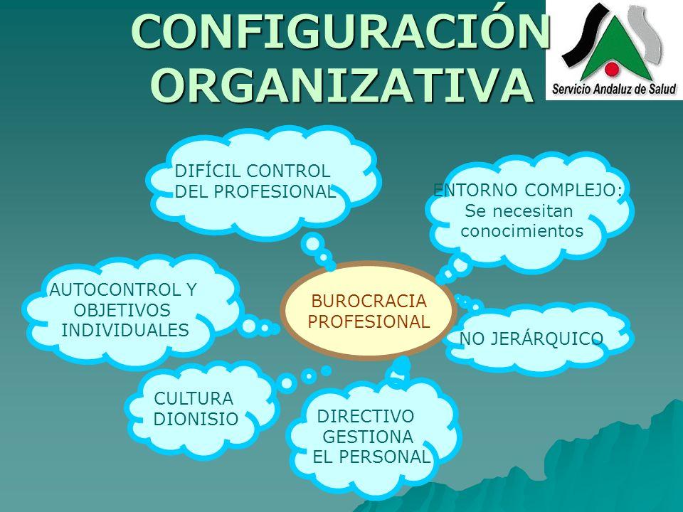 CONFIGURACIÓN ORGANIZATIVA AUTOCONTROL Y OBJETIVOS INDIVIDUALES NO JERÁRQUICO BUROCRACIA PROFESIONAL ENTORNO COMPLEJO: Se necesitan conocimientos DIRE