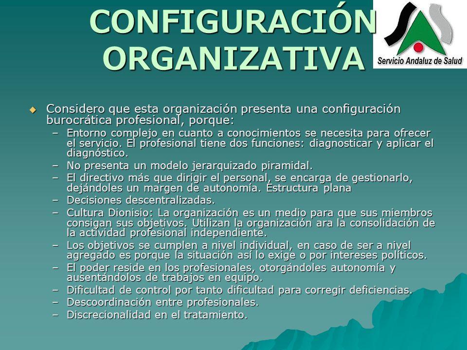 CONFIGURACIÓN ORGANIZATIVA Considero que esta organización presenta una configuración burocrática profesional, porque: Considero que esta organización