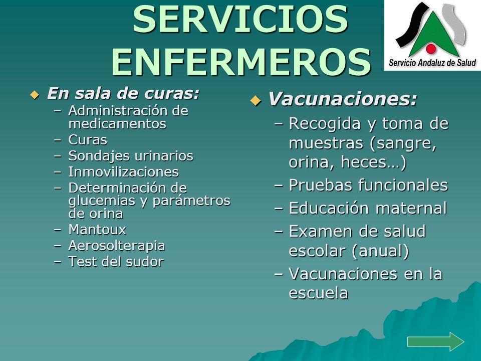 SERVICIOS ENFERMEROS En sala de curas: En sala de curas: –Administración de medicamentos –Curas –Sondajes urinarios –Inmovilizaciones –Determinación d