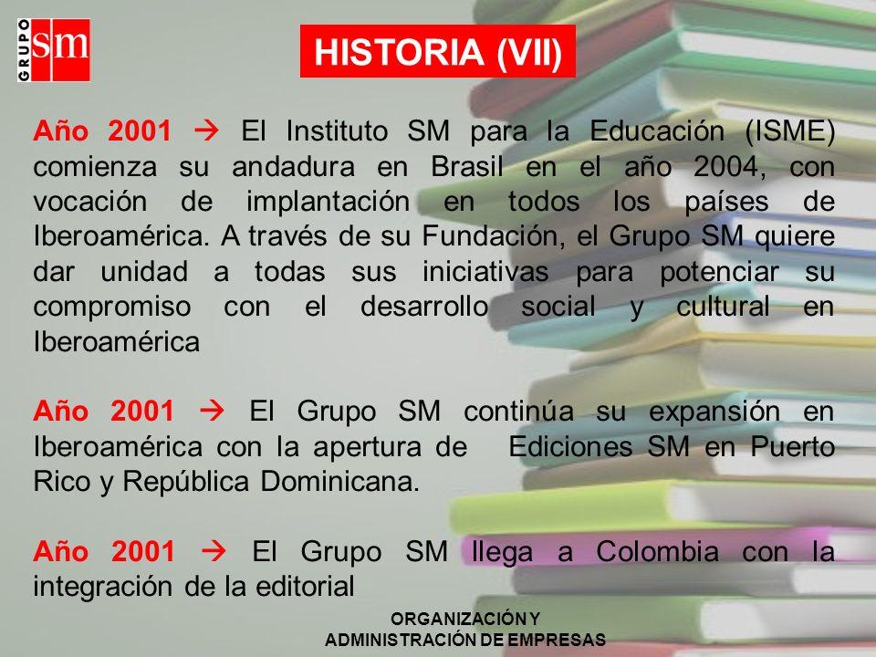 ORGANIZACIÓN Y ADMINISTRACIÓN DE EMPRESAS HISTORIA (VI) Año 2001 El Grupo SM irrumpe en la Red con portales especializados para la comunidad escolar (