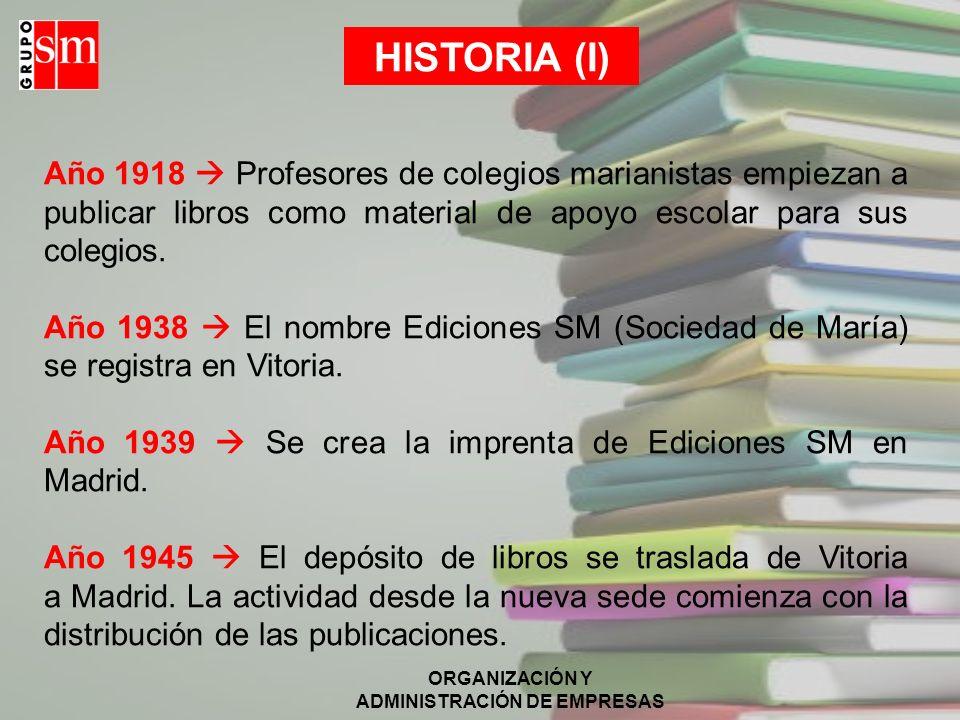 ORGANIZACIÓN Y ADMINISTRACIÓN DE EMPRESAS HISTORIA 1918-1945 1950- 1960 1961-1975 1977- 1984 1987- 1999 2001