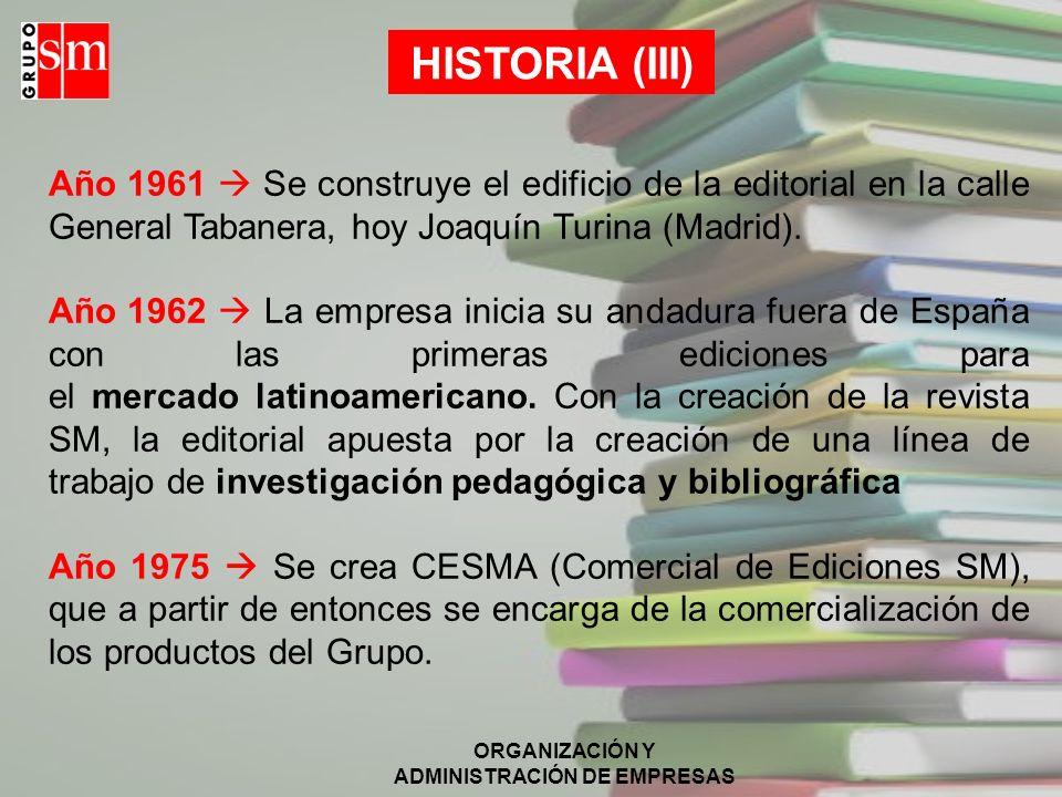 ORGANIZACIÓN Y ADMINISTRACIÓN DE EMPRESAS BIBLIOGRAFÍA http://www.grupo-sm.com http://www.profes.net http://www.fundacion-sm.com http://prensa.grupo-sm.com MEMORIAS 2007 GRUPO SM.