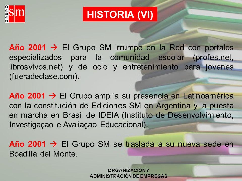 ORGANIZACIÓN Y ADMINISTRACIÓN DE EMPRESAS Año 1987 En Chile se constituye Ediciones SM. Año 1999 El Grupo SM adquiere una participación mayoritaria PP
