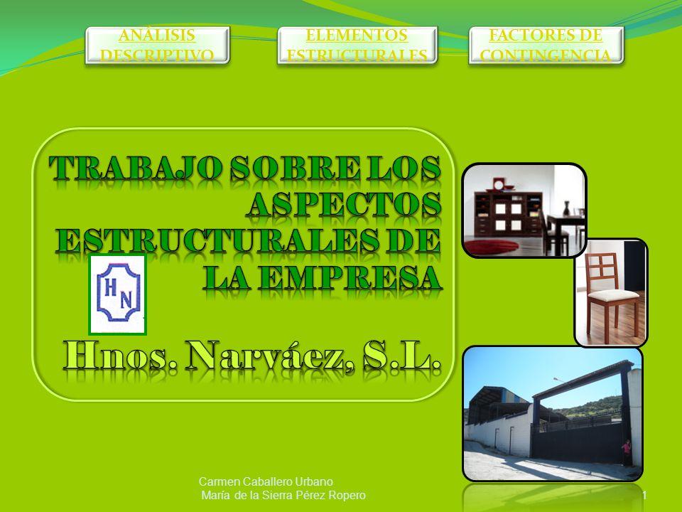 Carmen Caballero Urbano María de la Sierra Pérez Ropero1 ANÁLISIS DESCRIPTIVO ANÁLISIS DESCRIPTIVO ELEMENTOS ESTRUCTURALES ELEMENTOS ESTRUCTURALES FACTORES DE CONTINGENCIA FACTORES DE CONTINGENCIA