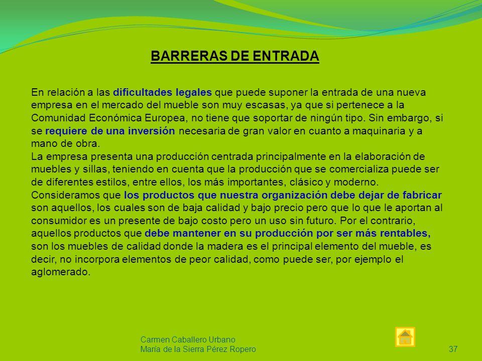 Carmen Caballero Urbano María de la Sierra Pérez Ropero36 PRODUCTOS SUSTITUTIVOS Los principales productos sustitutivos de nuestra organización son los llevados a cabo por todas aquellas empresas multinacionales.