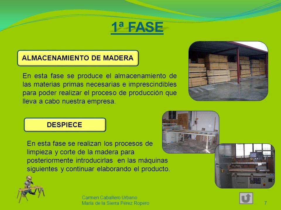 1ª FASE Carmen Caballero Urbano María de la Sierra Pérez Ropero7 En esta fase se produce el almacenamiento de las materias primas necesarias e imprescindibles para poder realizar el proceso de producción que lleva a cabo nuestra empresa.