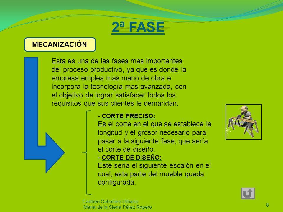 2ª FASE Carmen Caballero Urbano María de la Sierra Pérez Ropero 8 Esta es una de las fases mas importantes del proceso productivo, ya que es donde la empresa emplea mas mano de obra e incorpora la tecnología mas avanzada, con el objetivo de lograr satisfacer todos los requisitos que sus clientes le demandan.