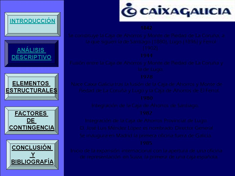 1842 Se constituye la Caja de Ahorros y Monte de Piedad de La Coruña, a la que siguen la de Santiago (1880), Lugo (1896) y Ferrol (1902). 1944 Fusión