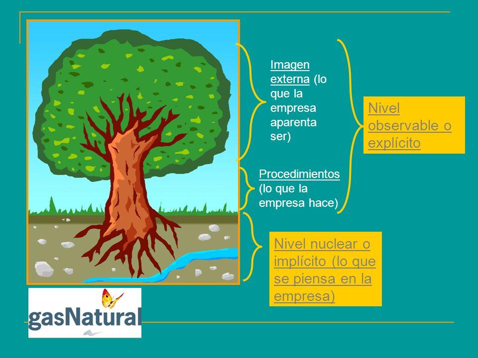 Nivel observable o explícito Nivel nuclear o implícito (lo que se piensa en la empresa) Imagen externa (lo que la empresa aparenta ser) Procedimientos (lo que la empresa hace)