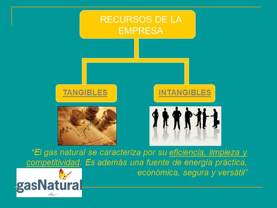 RECURSOS DE LA EMPRESA TANGIBLESINTANGIBLES El gas natural se caracteriza por su eficiencia, limpieza y competitividad.
