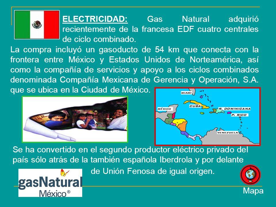 La compra incluyó un gasoducto de 54 km que conecta con la frontera entre México y Estados Unidos de Norteamérica, así como la compañía de servicios y apoyo a los ciclos combinados denominada Compañía Mexicana de Gerencia y Operación, S.A.