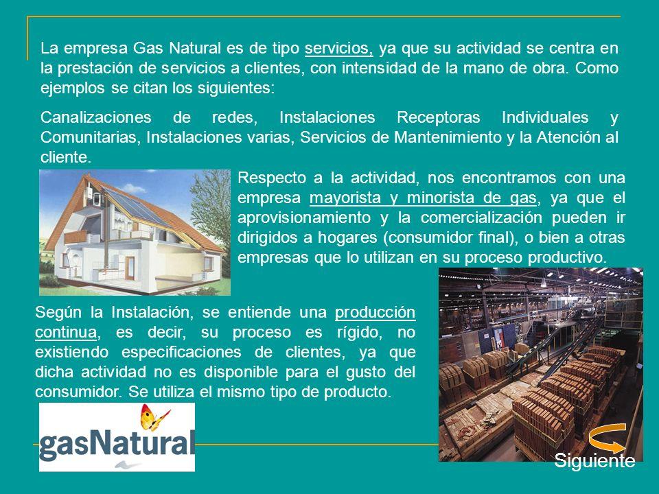 La empresa Gas Natural es de tipo servicios, ya que su actividad se centra en la prestación de servicios a clientes, con intensidad de la mano de obra.