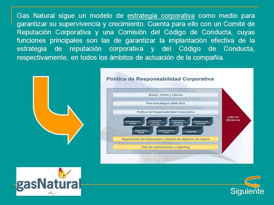 Gas Natural sigue un modelo de estrategia corporativa como medio para garantizar su supervivencia y crecimiento.
