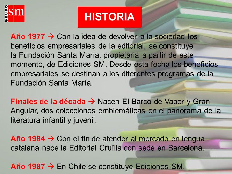 Año 1977 Con la idea de devolver a la sociedad los beneficios empresariales de la editorial, se constituye la Fundación Santa María, propietaria a par