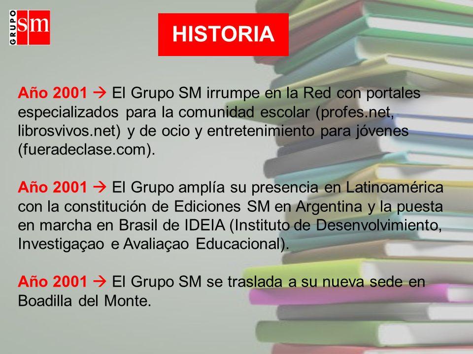 Año 2001 El Grupo SM irrumpe en la Red con portales especializados para la comunidad escolar (profes.net, librosvivos.net) y de ocio y entretenimiento