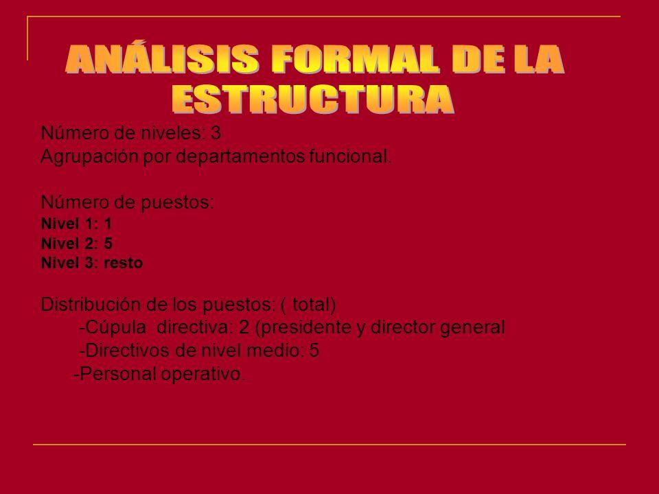 Número de niveles: 3 Agrupación por departamentos funcional. Número de puestos: Nivel 1: 1 Nivel 2: 5 Nivel 3: resto Distribución de los puestos: ( to