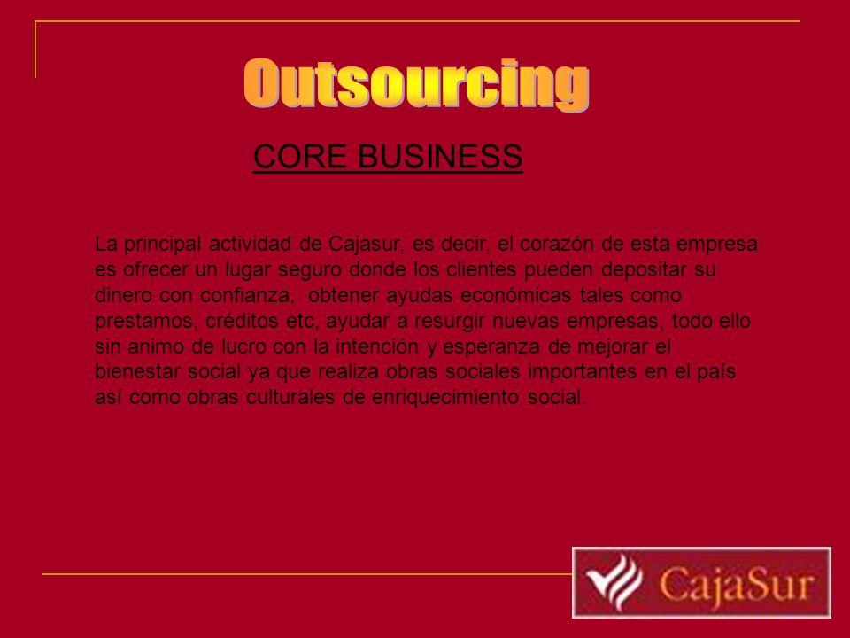 CORE BUSINESS La principal actividad de Cajasur, es decir, el corazón de esta empresa es ofrecer un lugar seguro donde los clientes pueden depositar s