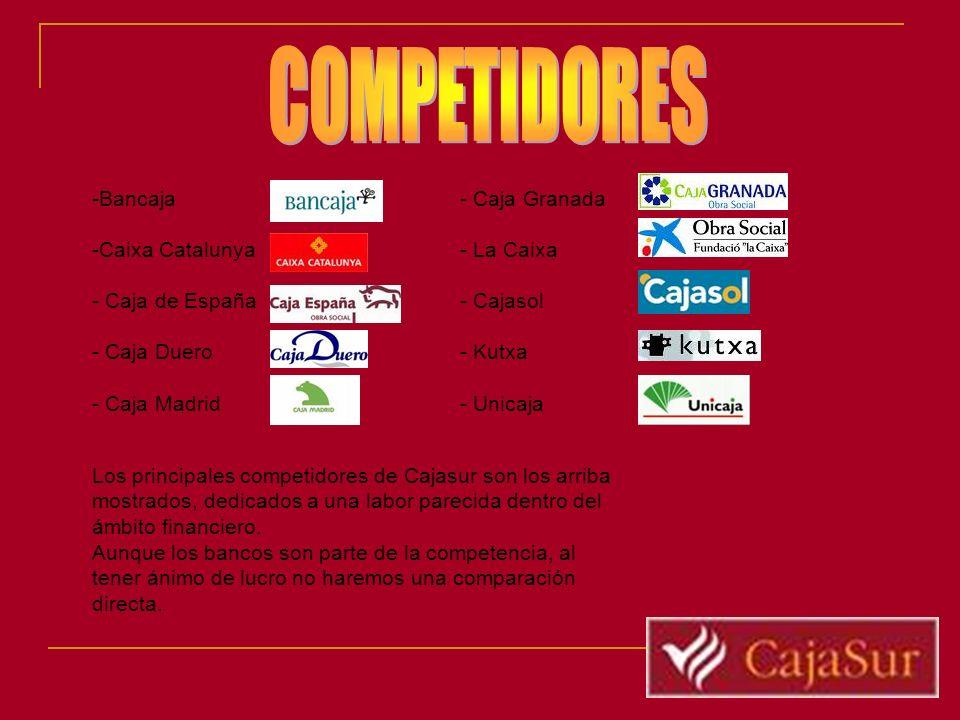 -Bancaja -Caixa Catalunya - Caja de España - Caja Duero - Caja Madrid - Caja Granada - La Caixa - Cajasol - Kutxa - Unicaja Los principales competidor