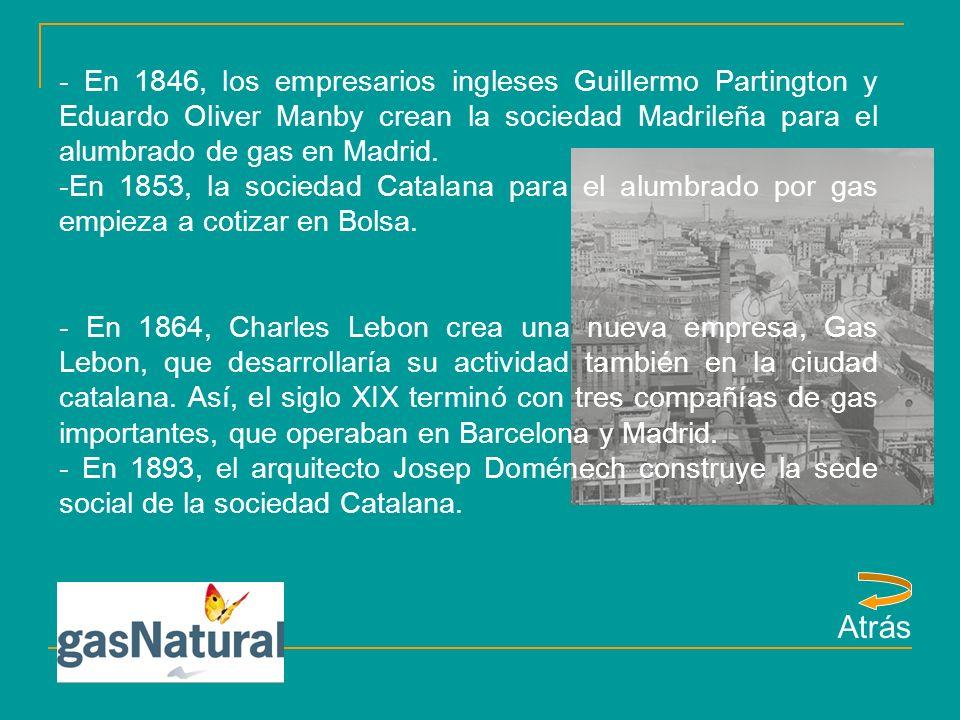 -Hacia 1910, la sociedad Catalana para el alumbrado por gas empieza a interesarse por el negocio hidroeléctrico, para hacer frente a la dura competencia de la energia eléctrica de principios de siglo.