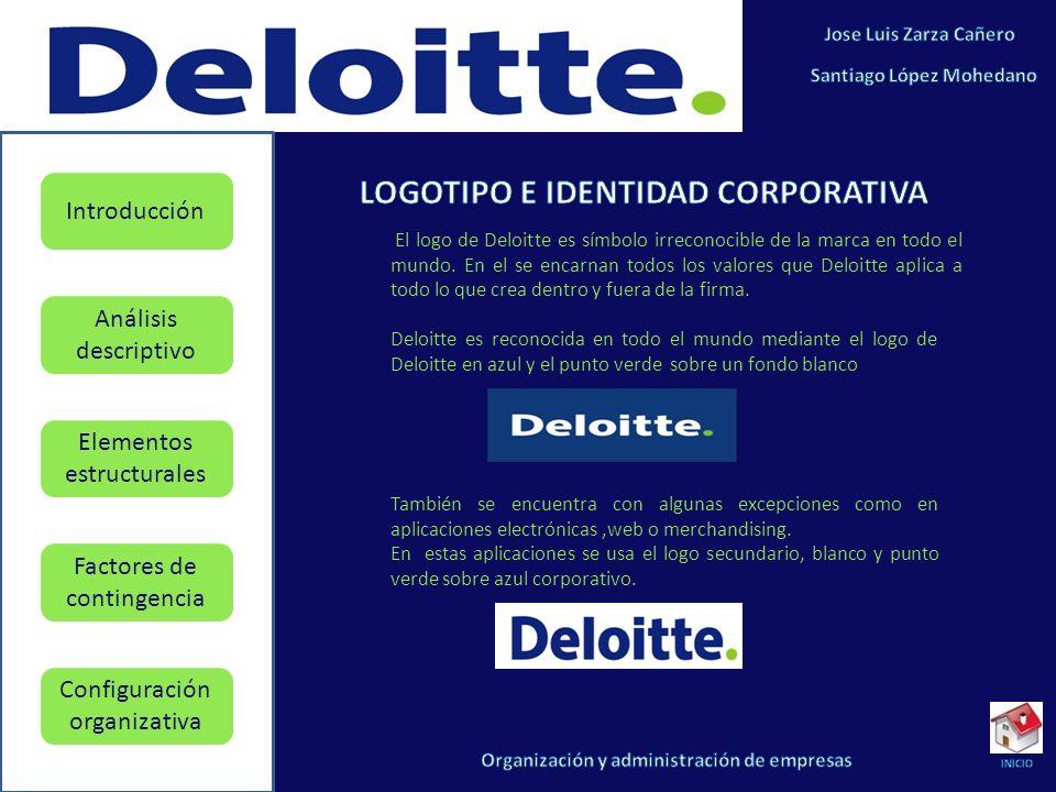 Elementos estructurales Factores de contingencia Configuración organizativa Introducción Análisis descriptivo El logo de Deloitte es símbolo irreconocible de la marca en todo el mundo.
