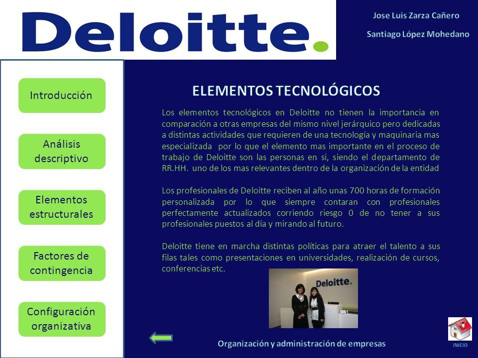 Elementos estructurales Factores de contingencia Configuración organizativa Introducción Análisis descriptivo Los elementos tecnológicos en Deloitte n