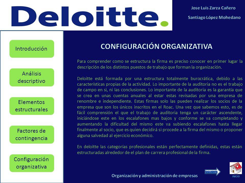 Elementos estructurales Factores de contingencia Configuración organizativa Introducción Análisis descriptivo Para comprender como se estructura la firma es preciso conocer en primer lugar la descripción de los distintos puestos de trabajo que forman la organización.