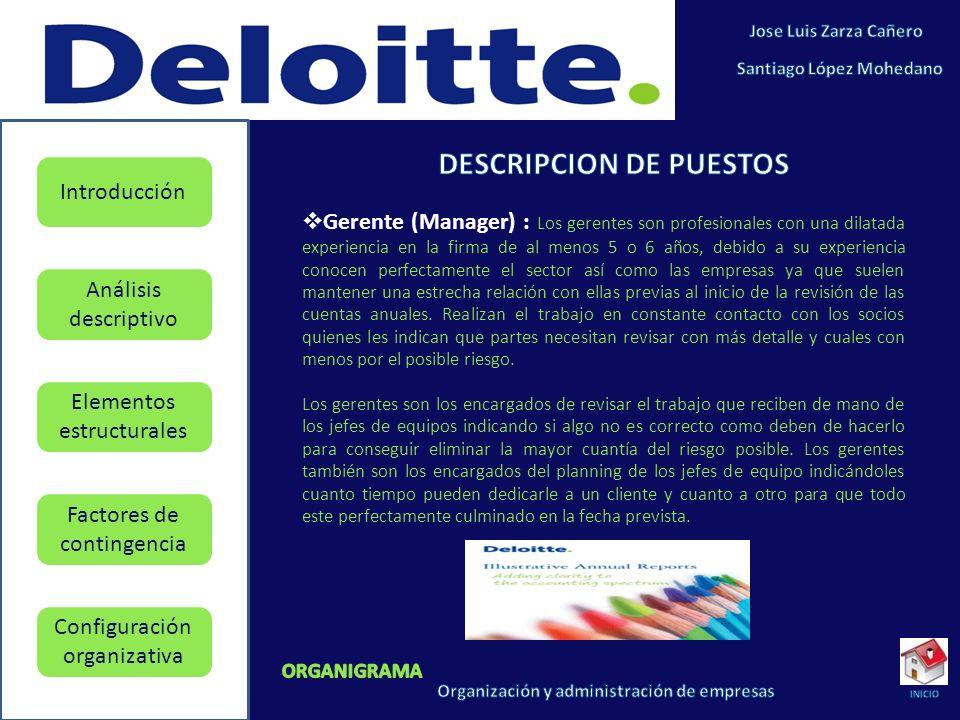 Elementos estructurales Factores de contingencia Configuración organizativa Introducción Análisis descriptivo Gerente (Manager) : Los gerentes son pro