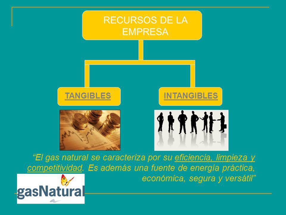 RECURSOS DE LA EMPRESA TANGIBLESINTANGIBLES El gas natural se caracteriza por su eficiencia, limpieza y competitividad. Es además una fuente de energí