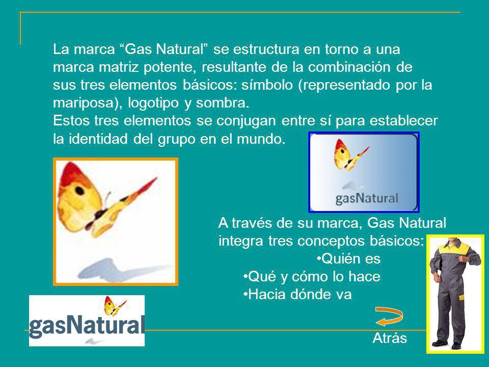 La marca Gas Natural se estructura en torno a una marca matriz potente, resultante de la combinación de sus tres elementos básicos: símbolo (represent