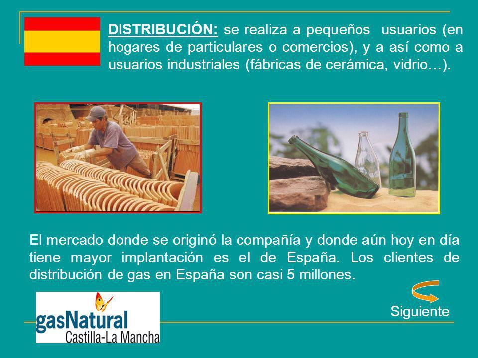 DISTRIBUCIÓN: se realiza a pequeños usuarios (en hogares de particulares o comercios), y a así como a usuarios industriales (fábricas de cerámica, vid