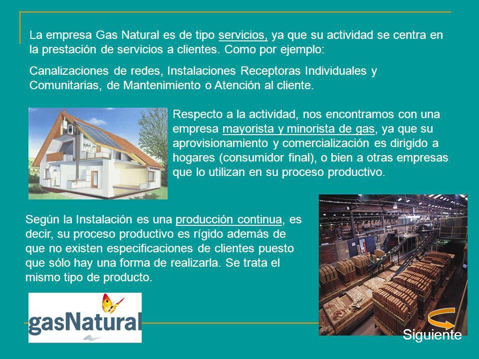 La empresa Gas Natural es de tipo servicios, ya que su actividad se centra en la prestación de servicios a clientes. Como por ejemplo: Canalizaciones