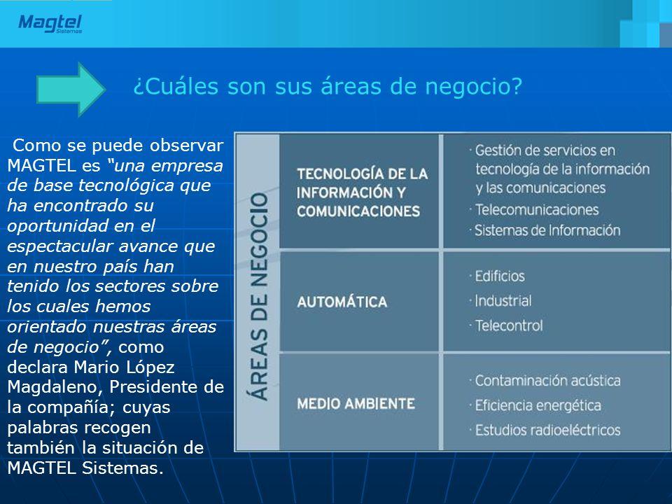 ¿Cuáles son sus áreas de negocio? Como se puede observar MAGTEL es una empresa de base tecnológica que ha encontrado su oportunidad en el espectacular