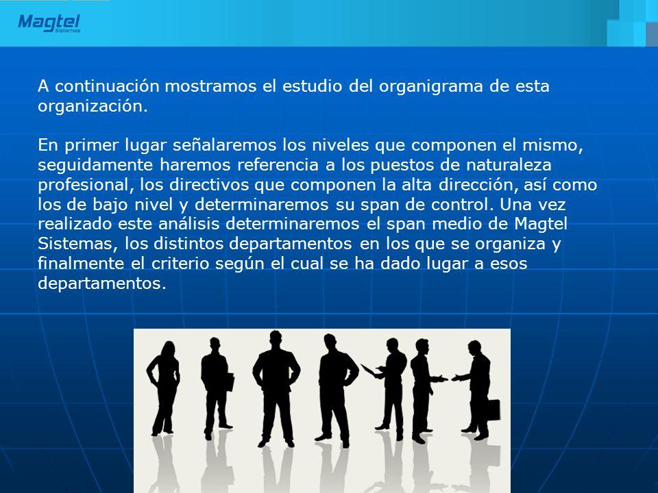 A continuación mostramos el estudio del organigrama de esta organización. En primer lugar señalaremos los niveles que componen el mismo, seguidamente