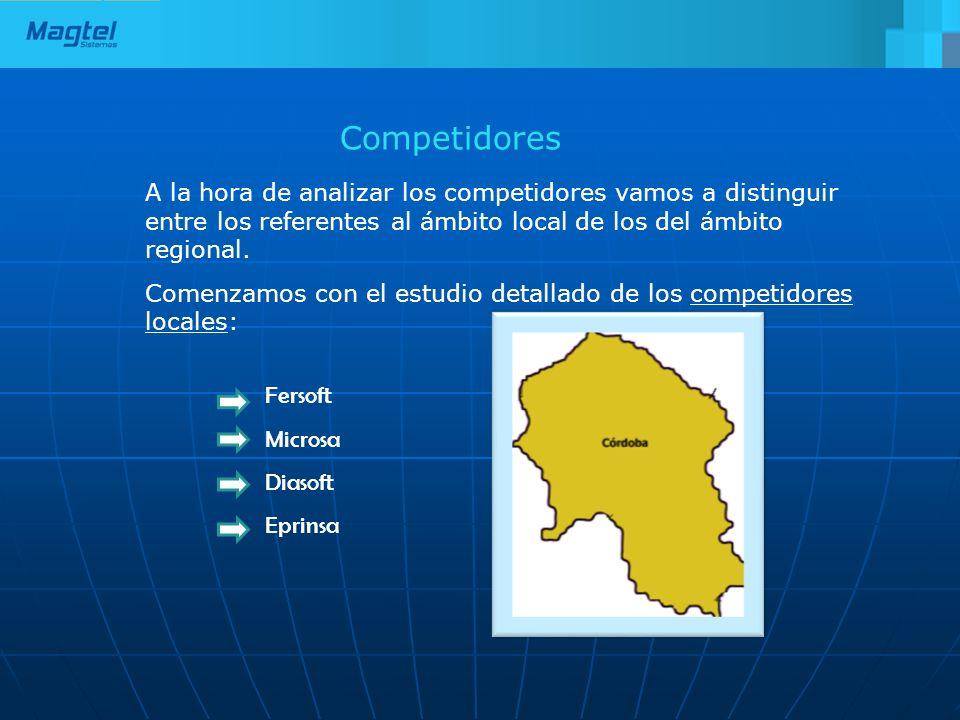 Competidores A la hora de analizar los competidores vamos a distinguir entre los referentes al ámbito local de los del ámbito regional. Comenzamos con