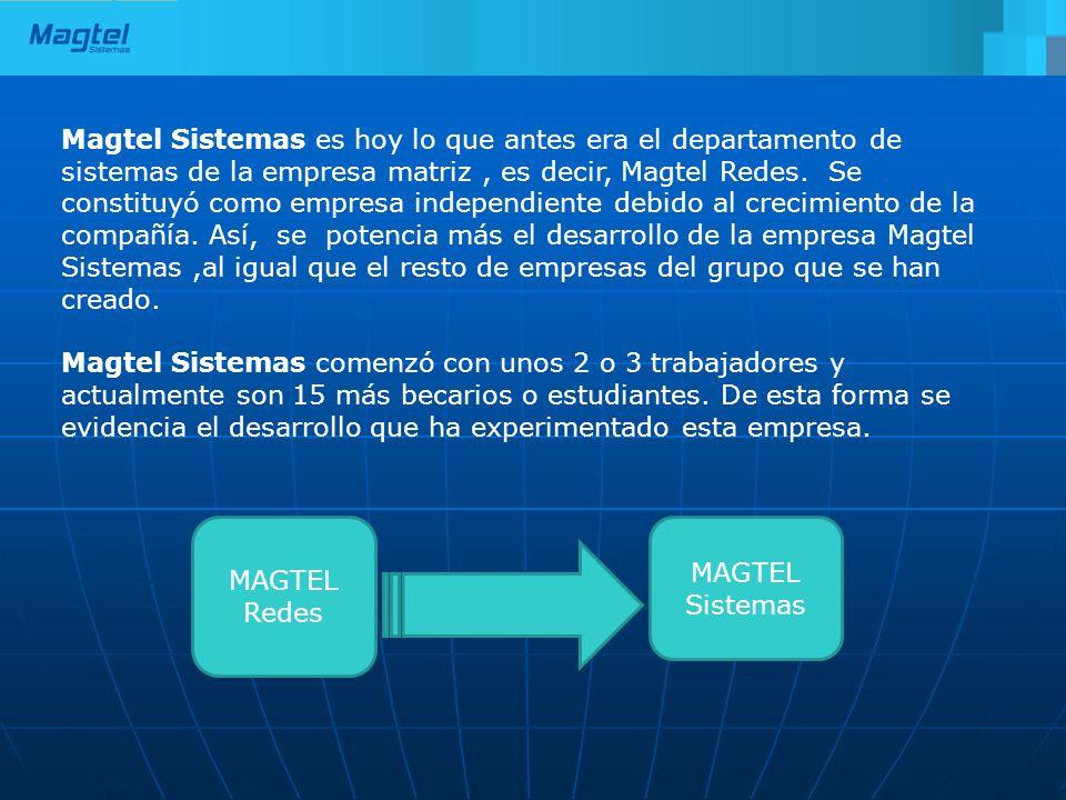 Magtel Sistemas es hoy lo que antes era el departamento de sistemas de la empresa matriz, es decir, Magtel Redes. Se constituyó como empresa independi