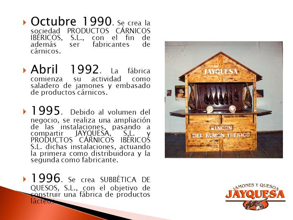 Octubre 1990. Se crea la sociedad PRODUCTOS CÁRNICOS IBÉRICOS, S.L., con el fin de además ser fabricantes de cárnicos. Abril 1992. La fábrica comienza