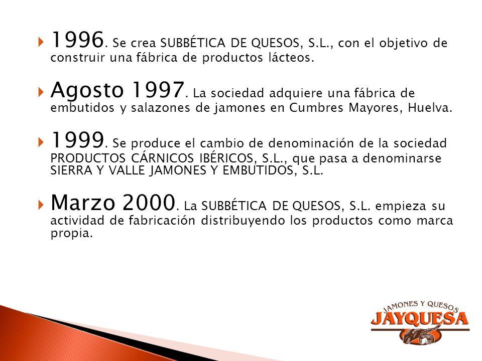 Agosto 1997. La sociedad adquiere una fábrica de embutidos y salazones de jamones en Cumbres Mayores, Huelva. 1999. Se produce el cambio de denominaci