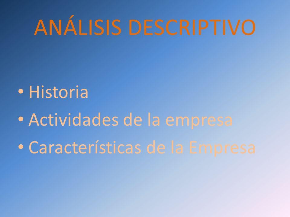 ANÁLISIS DESCRIPTIVO Historia Actividades de la empresa Características de la Empresa