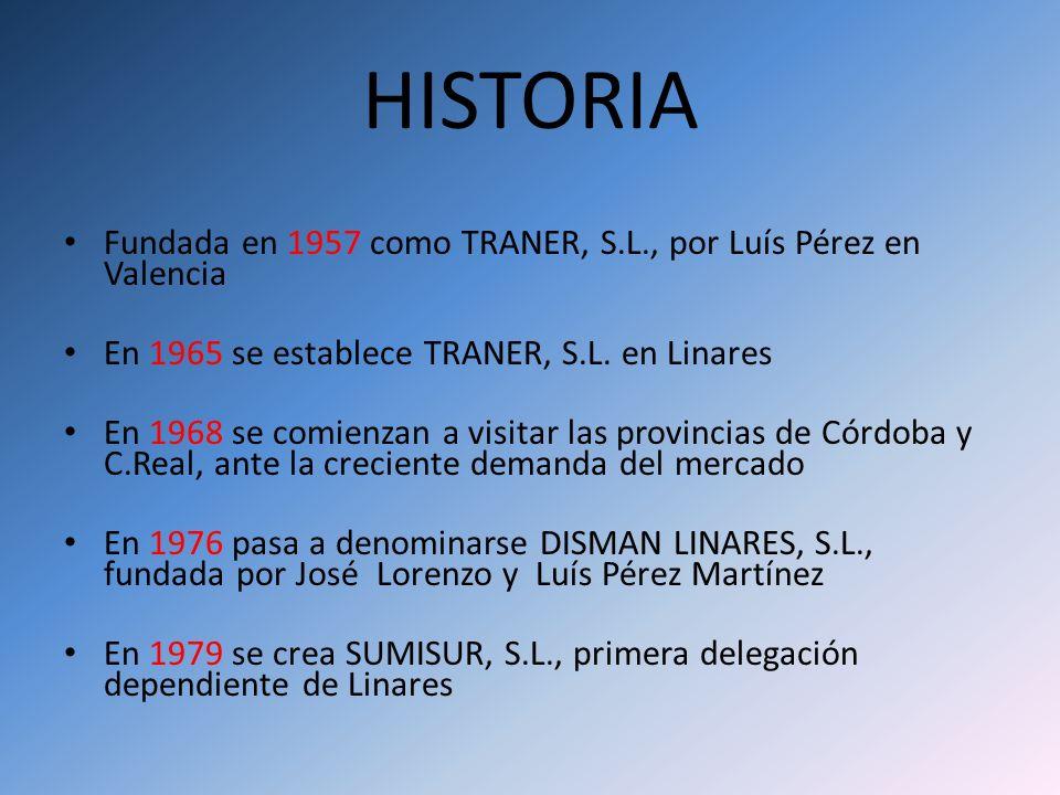 HISTORIA Fundada en 1957 como TRANER, S.L., por Luís Pérez en Valencia En 1965 se establece TRANER, S.L. en Linares En 1968 se comienzan a visitar las