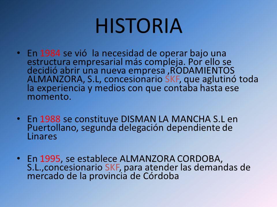 HISTORIA En 1984 se vió la necesidad de operar bajo una estructura empresarial más compleja. Por ello se decidió abrir una nueva empresa,RODAMIENTOS A