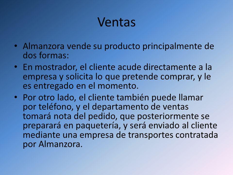 Ventas Almanzora vende su producto principalmente de dos formas: En mostrador, el cliente acude directamente a la empresa y solicita lo que pretende c