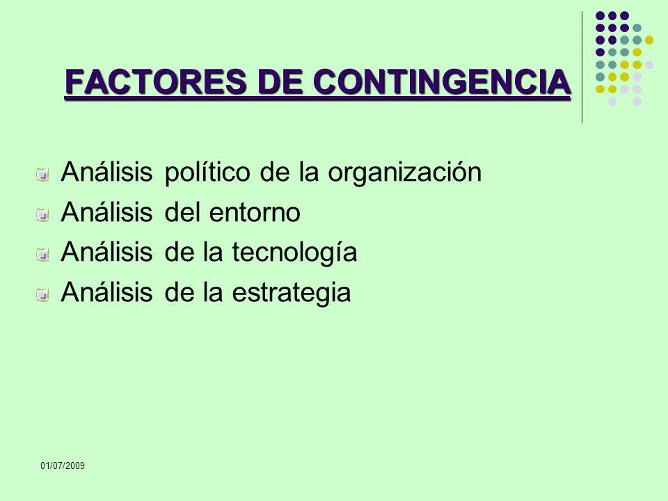 01/07/2009 FACTORES DE CONTINGENCIA Análisis político de la organización Análisis del entorno Análisis de la tecnología Análisis de la estrategia