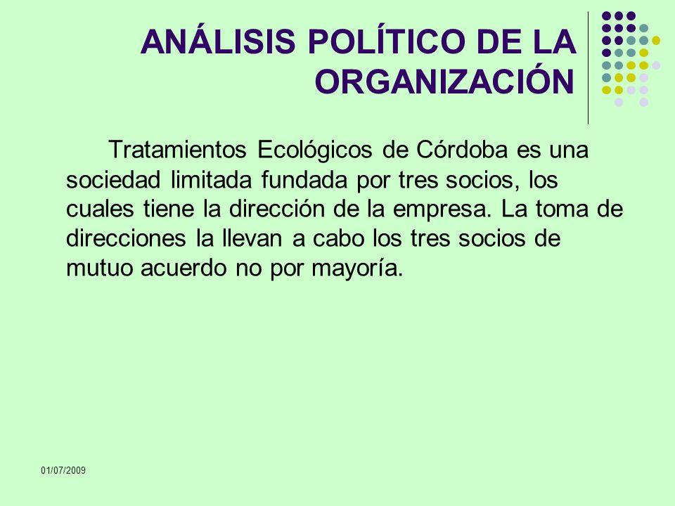 01/07/2009 ANÁLISIS POLÍTICO DE LA ORGANIZACIÓN Tratamientos Ecológicos de Córdoba es una sociedad limitada fundada por tres socios, los cuales tiene