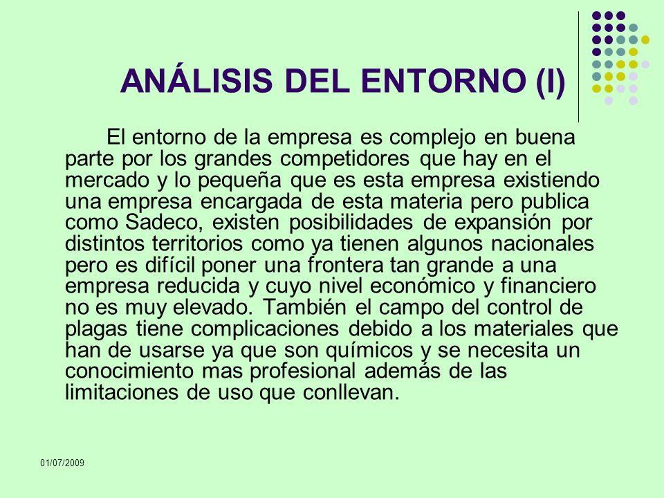 01/07/2009 ANÁLISIS DEL ENTORNO (I) El entorno de la empresa es complejo en buena parte por los grandes competidores que hay en el mercado y lo pequeñ