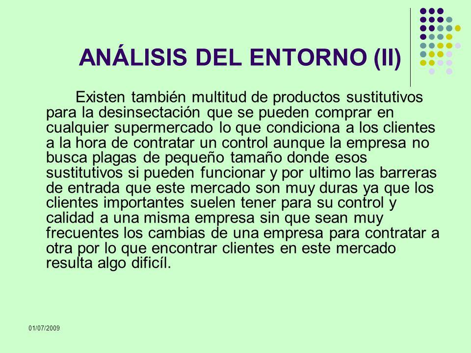 01/07/2009 ANÁLISIS DEL ENTORNO (II) Existen también multitud de productos sustitutivos para la desinsectación que se pueden comprar en cualquier supe
