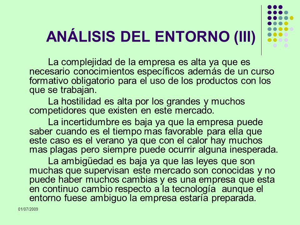 01/07/2009 ANÁLISIS DEL ENTORNO (III) La complejidad de la empresa es alta ya que es necesario conocimientos específicos además de un curso formativo