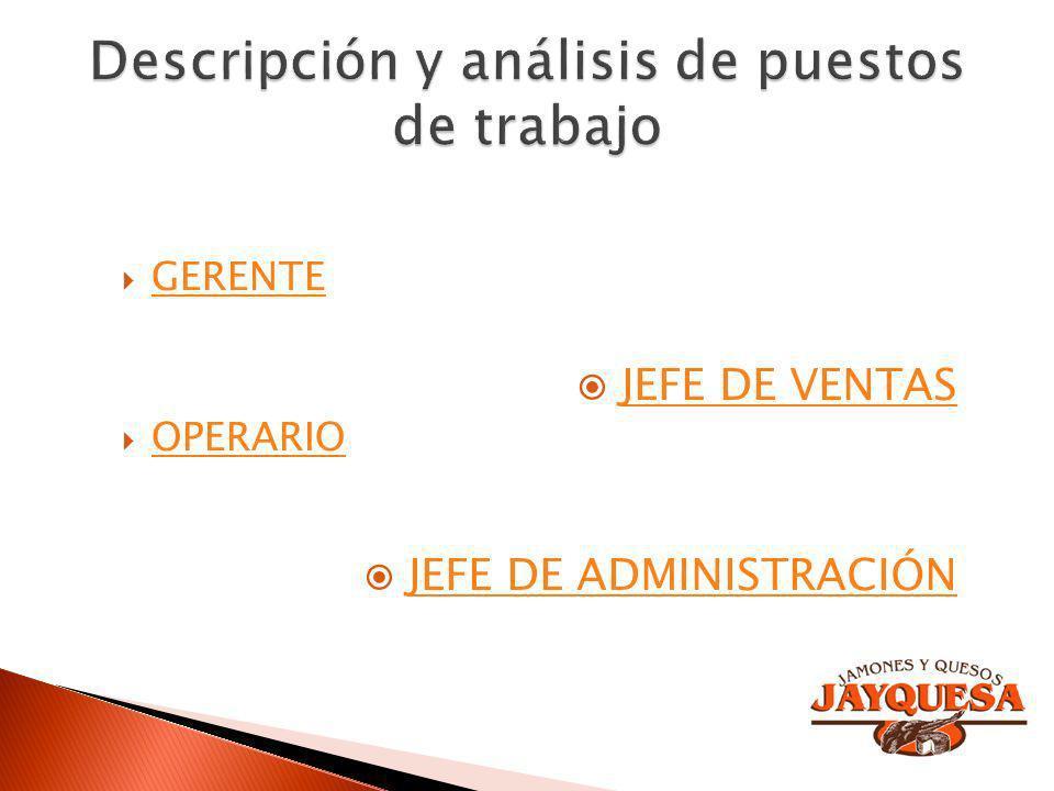 GERENTE OPERARIO JEFE DE VENTAS JEFE DE ADMINISTRACIÓN
