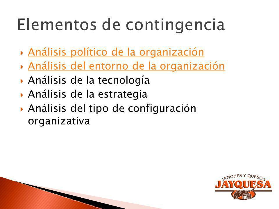 Análisis político de la organización Análisis del entorno de la organización Análisis de la tecnología Análisis de la estrategia Análisis del tipo de